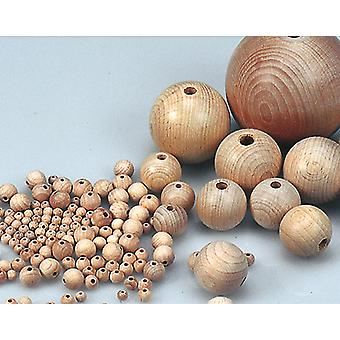 8 Untreated 25mm Wooden Bead Balls with Threading Holes for Crafts