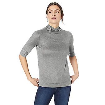 Lark & Ro Women's Elbow Length Sleeve Light Weight Turtleneck, Gris, X-Small
