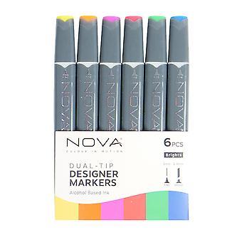 Trimcraft Nova Sketch Markers Brights (6pcs) (NOV008)
