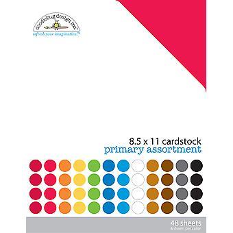 Doodlebug Design Primary 8.5x11 Inch Textured Cardstock Pack