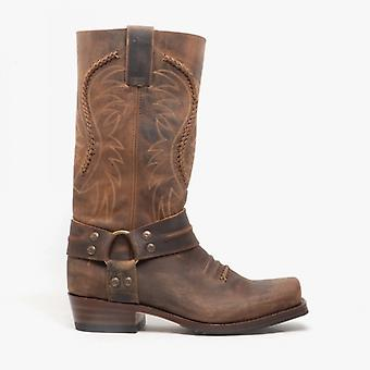 Sendra 11859 Mens Leather Mid Calf Harness Cowboy Boots Brown