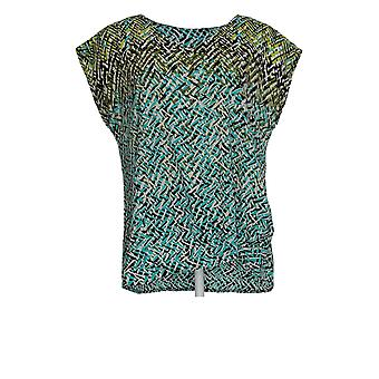 Belle By Kim Gravel Women's Top Abstract Print W/Front Knot Blue A355041