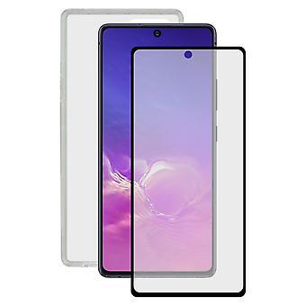 Gehärtetes Glas Mobile Screen Protector + Mobile Case Samsung Galaxy Note 10 Lite Kontakt