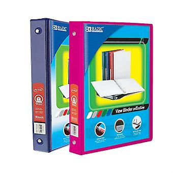 Combo53, BAZIC 1 Inch 3-Ring View Binder with 2-Pockets (Case pack of 24 consist 12-Blue & 12-Fuschia)