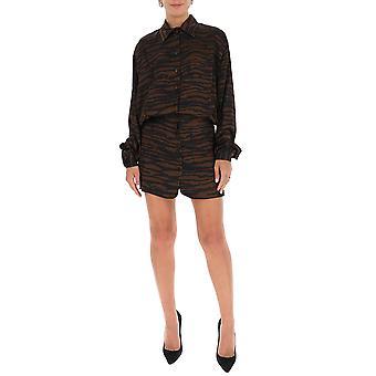 Attico 202wca07p030048 Damen's braun/schwarz Viskose Kleid
