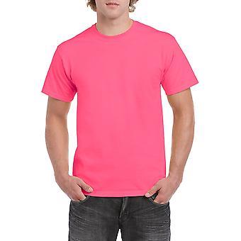 Gildan G5000 Plain Heavy Cotton T-shirt in Safety Pink
