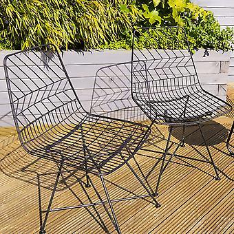 Charles Bentley Par Metal Udendørs Stole Stilfuld Mønstret Black Wire Contemporary geometriske mønster