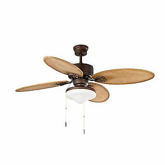 2 Light Large Ceiling Fan Dark Brown, Rustic Pine with Removable Light, E27