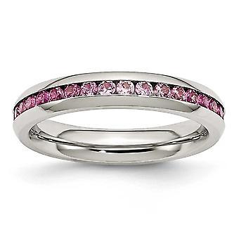 Acciaio inossidabile polacco 4mm luglio rosso c'è cubico zirconia simulato diamante anello gioielli regali per le donne - Dimensione anello: 6 a
