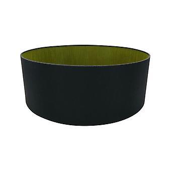 60 Cm Cylinder Tyg Lampskärm Midnatt Svart/grön Oliv