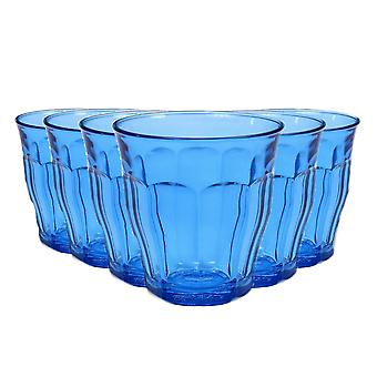 Duralex Picardie Coloured Glasses - 250ml Tumblers for Water, Juice - Blue - Pack of 6
