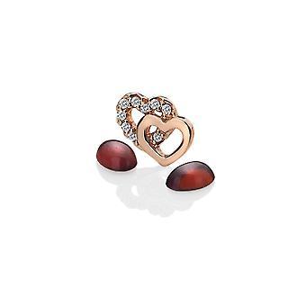 Diamantes calientes Anais Anais oro rosa plateado plata de ley doble corazón encanto AC014