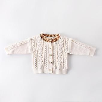 0-3yrs Spring Baby Girls Knitted Clothes Coat Warm Autumn Boys Solid Cardigan Sweater
