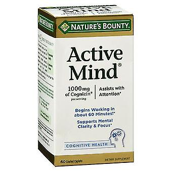 Nature's Bounty Active Mind Dietary Supplement Caplets, 60 Tablets