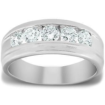 1 Ct Mens Diamond 5-Stone Wedding Ring Channel Set Classic Ring 10k Wit Goud