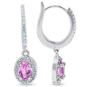 3 1/2ct Różowe Tourmaline & Diamond Dangle Kolczyki 18K Białe złoto