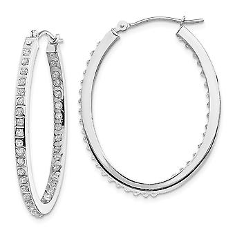 14k White Gold Polished Diamond Fascination Oval Hinged Hoop Earrings Measures 36x2mm Jewelry Gifts for Women
