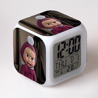 Colorful Multifunctional LED Children's Alarm Clock -Masha e o Urso #14