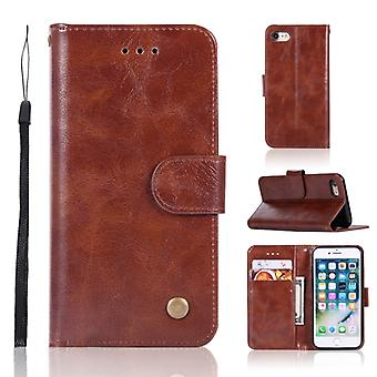 For iPhone 7 / 8 Retro Copper Buckle Crazy Horse Horizontal Flip PU Leather Case with Holder & Card Slots & Wallet & Lanyard(Brown)