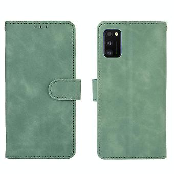 For Samsung Galaxy A41 (Eurasian Version) Solid Color Skin Feel Magnetic Buckle Horizontal Flip Calf Texture PU Leather Case with Holder & Card Slots
