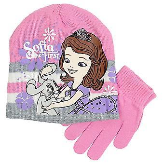 Girls PH4300 Disney Princess Sofia The First 2 Piece set Winter Beanie Hat & Gloves 3-8 Years