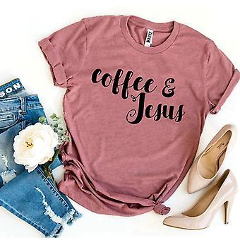 القهوة ويسوع تي شيرت