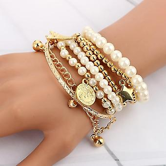 Fashion Beads Pearl Star, Multilayer Perlé, Bracelets Set Jewelry (or)