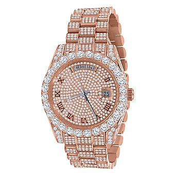 High Quality Iced Out Zirkonia Edelstahl Uhr - rose gold