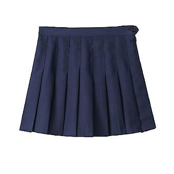 Women High Waist Cosplay Skirt Spring Summer Denim Solid A-line Sailor School