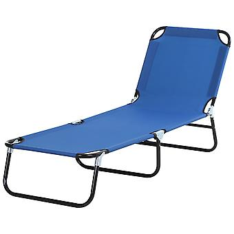 Outsunny Portable Folding Sun Lounger With 4-Position Adjustable Backrest Relaxer Recliner with Lightweight Frame Great for Pool or Sun Bathing Blue