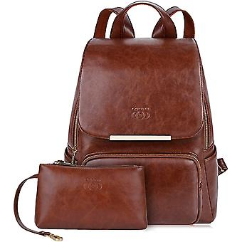 Leather Rucksack, COOFIT Leather Backpack Women Ladies Backpack Girls Schoolbag