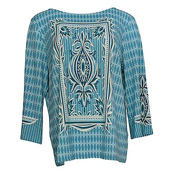 Bob Mackie Women's Top 3/4 Sleeve Geo Print Blue A305611