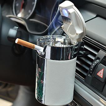 Led Light Ashtray Universal Cigarette Cylinder Holder Carbon Fiber Car Ashtray