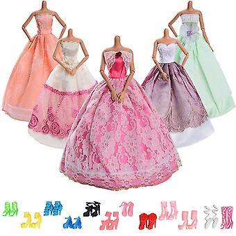Asiv moda ślubna księżniczka sukienki dla lalek barbie 5 kawałek duży