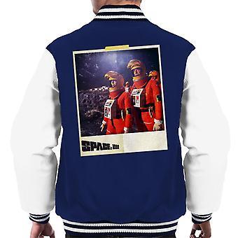 Space 1999 Helena And John In Orange Space Suits Men's Varsity Jacket