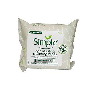 Lingettes nettoyantes simples Âge Résistant à 25 lingettes peau sensible