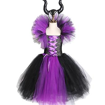 Maleficent Girls Tutu Halloween Cosplay Dress And Horn Headress