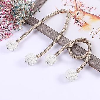 9 Colors Pearl Magnetic Ball Straps Simple Woven Curtain Buckle Clip