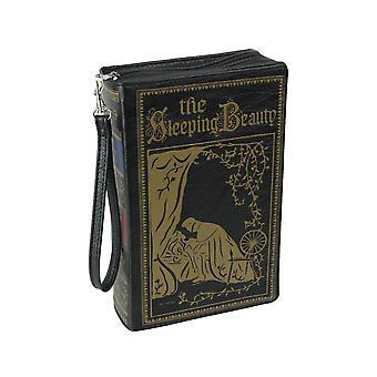 Black Vinyl Sleeping Beauty Book Handbag Novelty Clutch Purse Crossbody Bag
