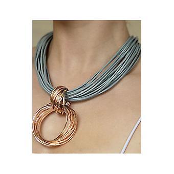 Grått halsband med rosa guldknutet ringhänge halsband