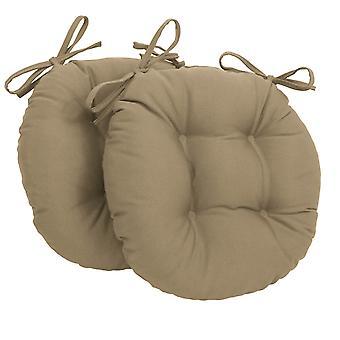 Cojines de silla de mechones redondos de sarga sólida de 16 pulgadas (juego de 2) - Toffee