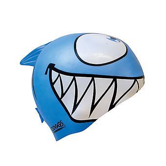 Zoggs Junior Silicone Character Swim Cap - Shark Blue