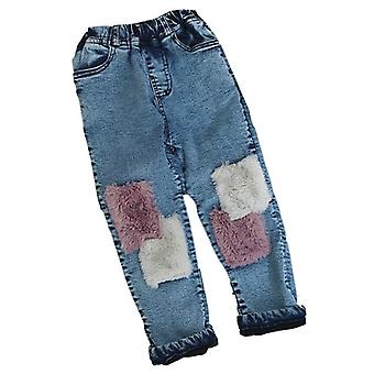 3-7 Years Winter Thick Warm Fleece Jeans Pant Baby Denim Tourers