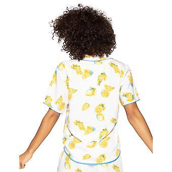 Cyberjammies Phoebe 4816 Ženy's Bílý citron motif Modální pyžamo Top