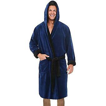 Muži s kapucňou s kapucňou, župan Soft Lounge Wear Housecoat Winter Warm