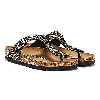 Birkenstock Gizeh Shiny Python Womens Black / Gold Sandals