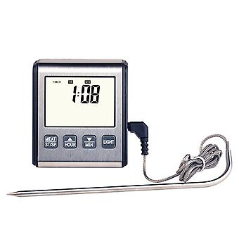 Instant Read Thermometer With Long Probe, Lcd Screen 0℃~300℃ Digital Bbq Grill Monitor Best For Meat, Sugar, Milk, Water