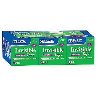 """Bazic Tape Refill, Invisible Tape, 3/4"""" X 1000"""", 12 Rolls"""