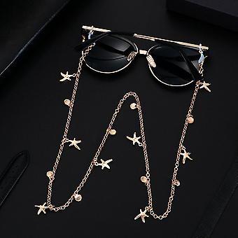 女性サングラスチェーンパール眼鏡ホルダー、ネックレスステンレススチールホルダー