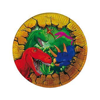 6 Petites assiettes en carton Dinosaures 18 cm